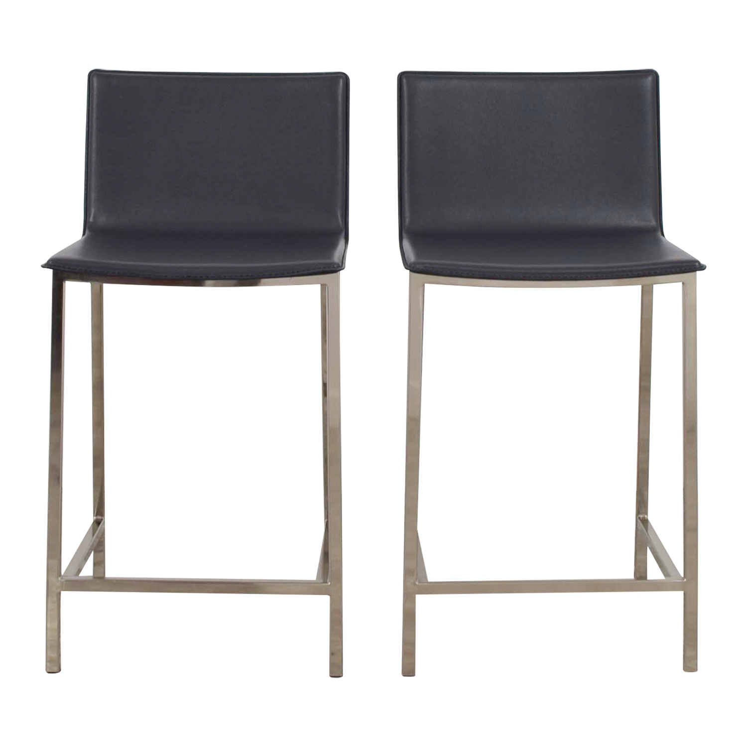 buy CB2 CB2 Grey Leather Bar Stools online ...  sc 1 st  Furnishare & 37% OFF - CB2 CB2 Grey Leather Bar Stools / Chairs islam-shia.org