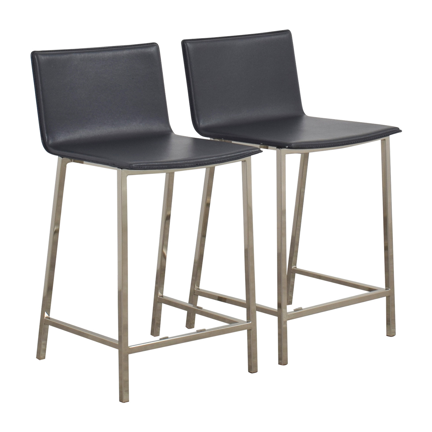 shop CB2 CB2 Grey Leather Bar Stools online