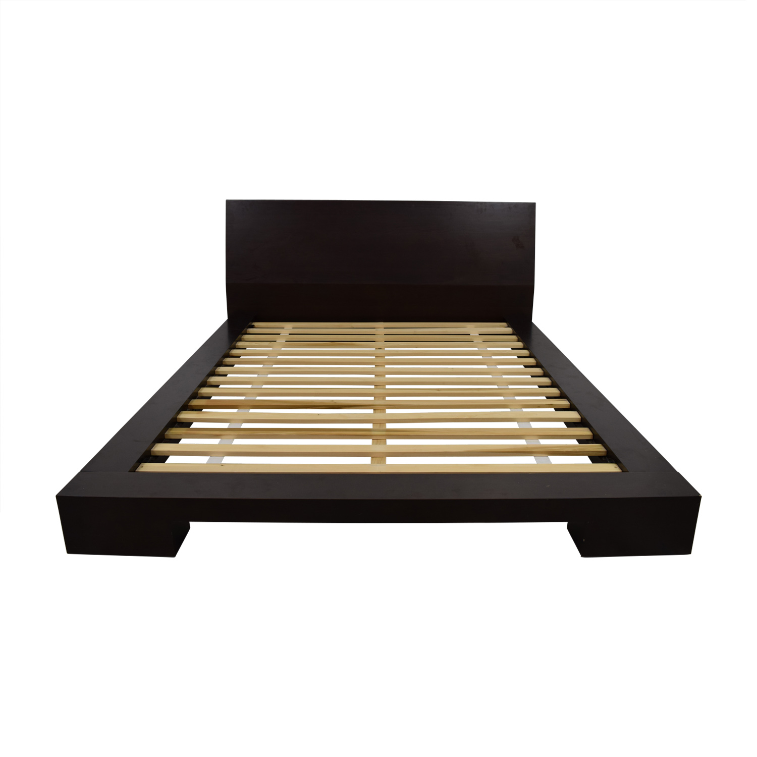 Crate & Barrel Crate & Barrel Dark Wood Queen Platform Bed Frame
