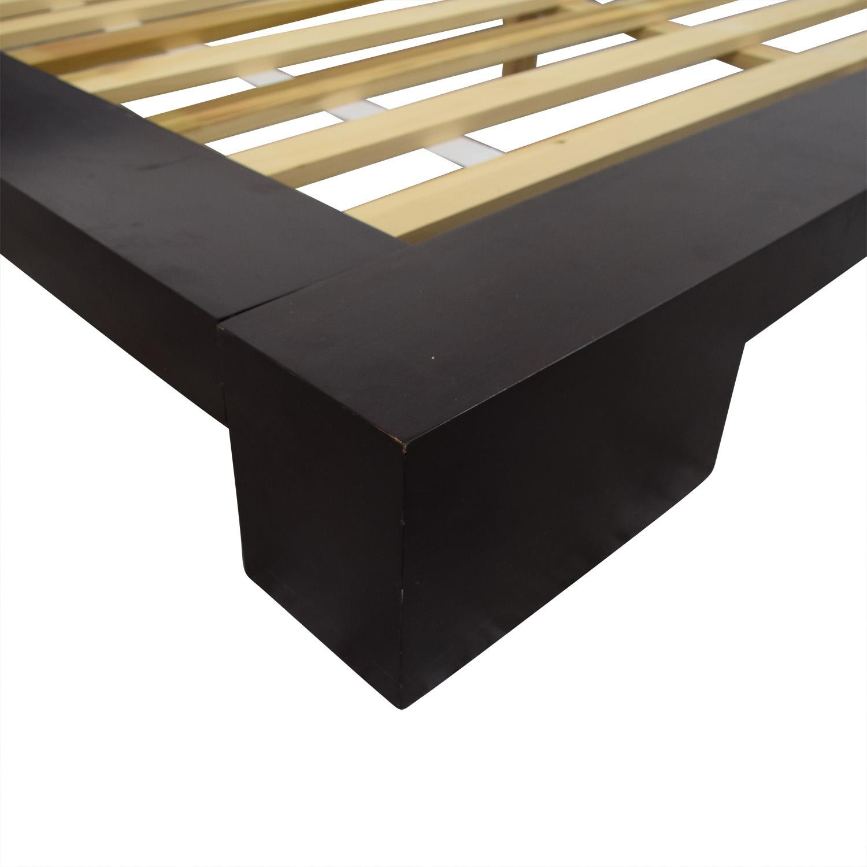 shop Crate & Barrel Dark Wood Queen Platform Bed Frame Crate & Barrel Bed Frames