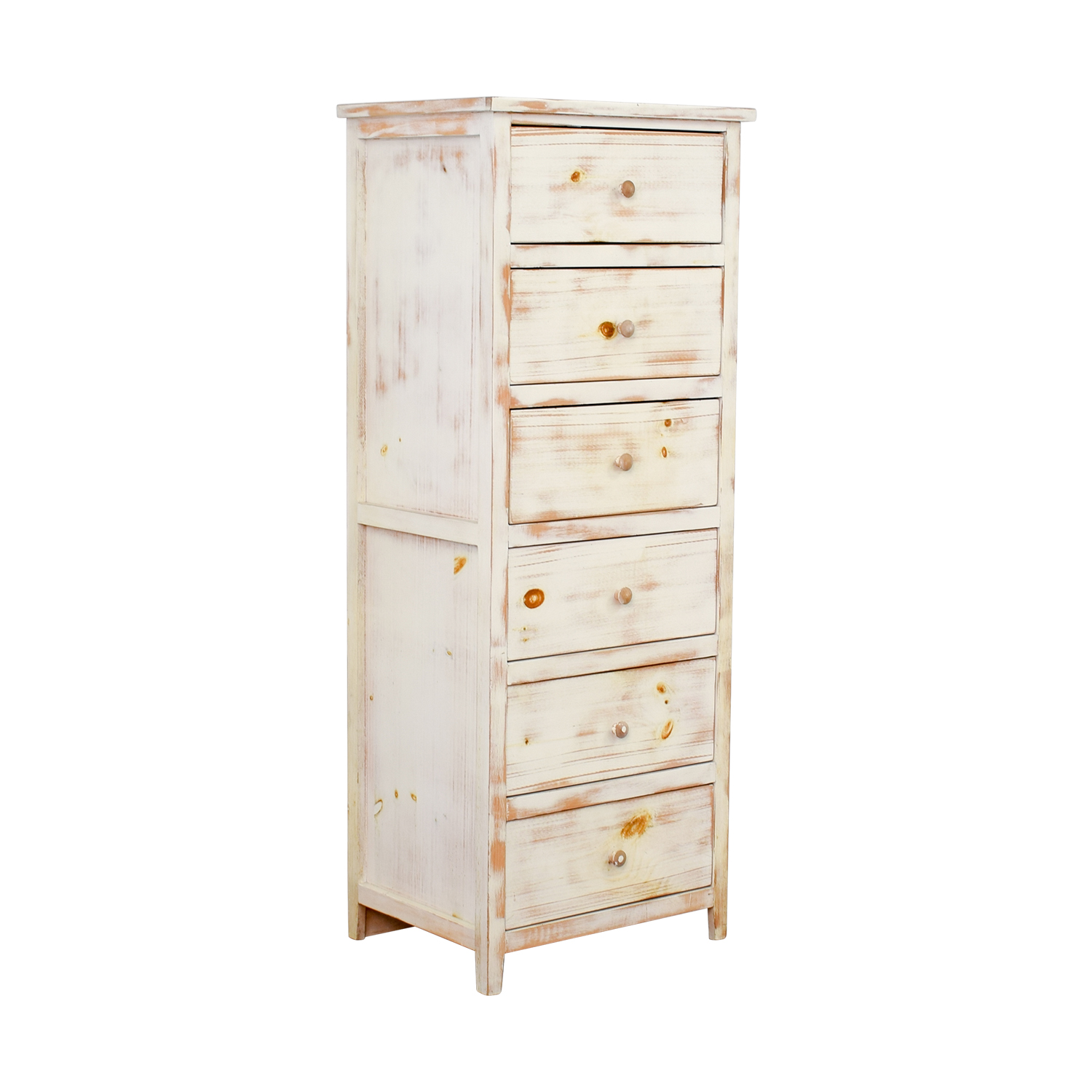Light Brown Cream Wash Wood Six-Drawer Dresser for sale