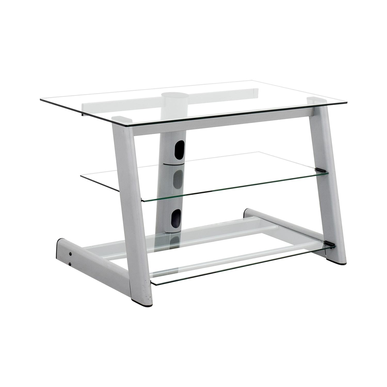 buy Three-Tiered Glass TV Credenza Storage