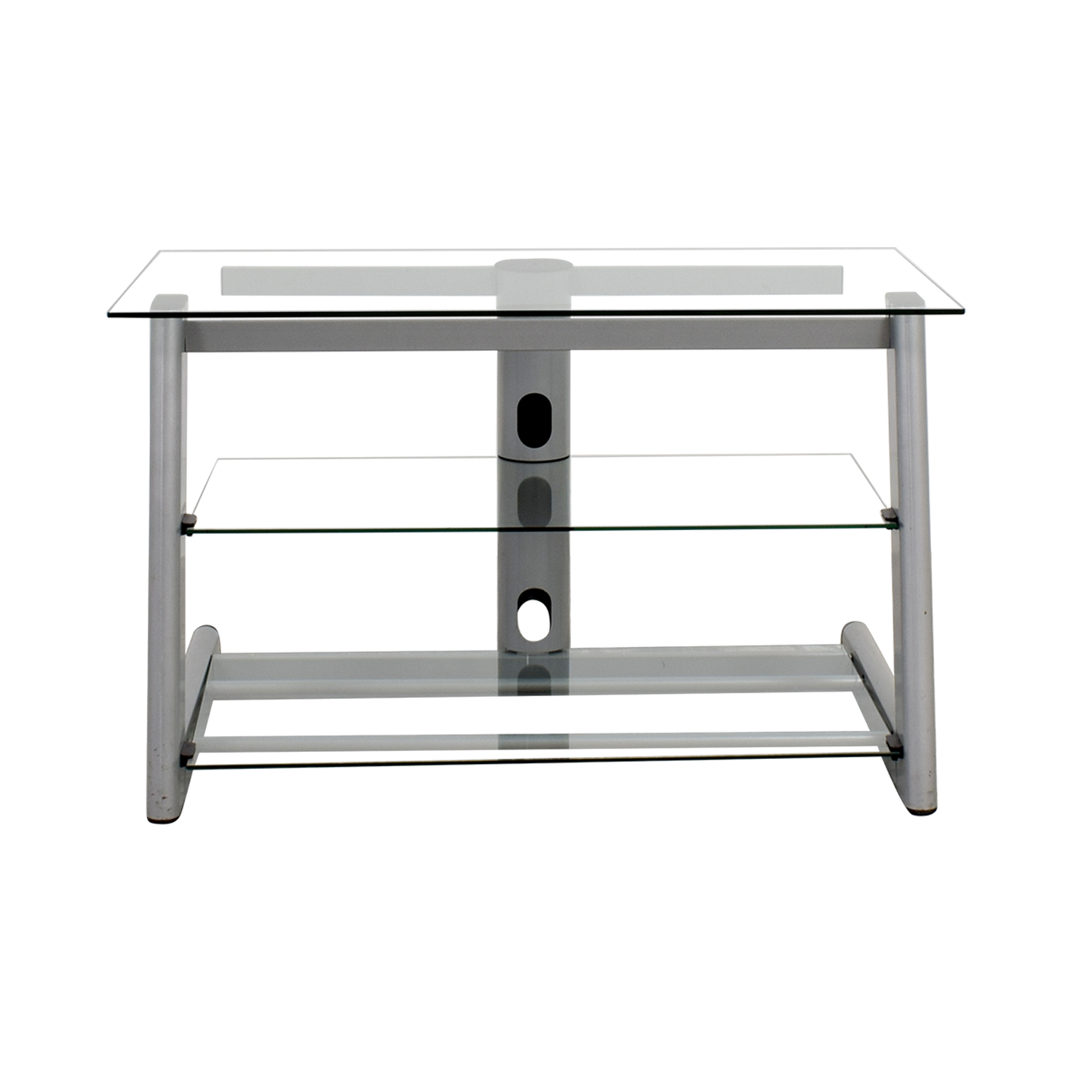 Three-Tiered Glass TV Credenza Glass / Light Grey