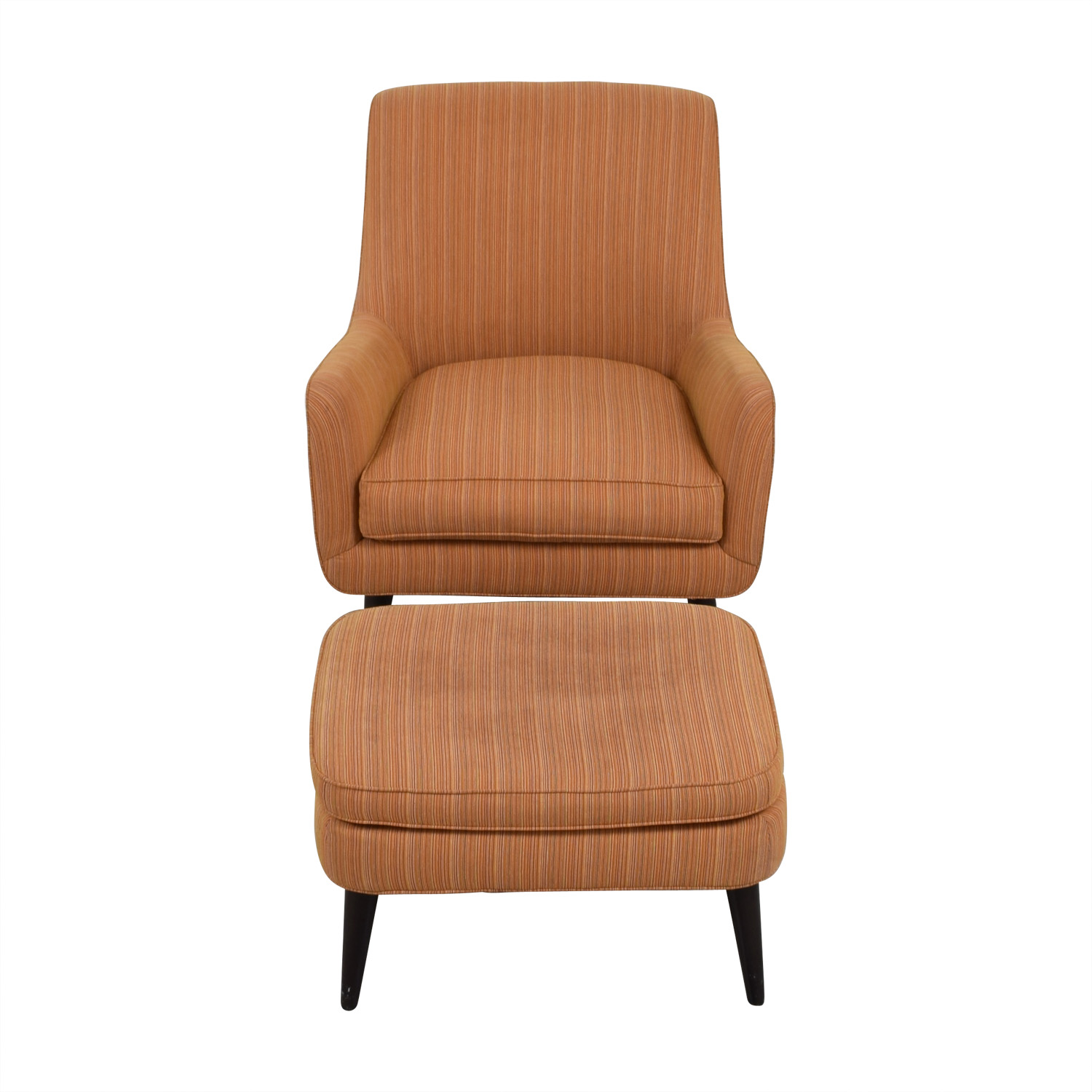 Room & Board Room & Board Orange Striped Lounge Chair & Ottoman for sale