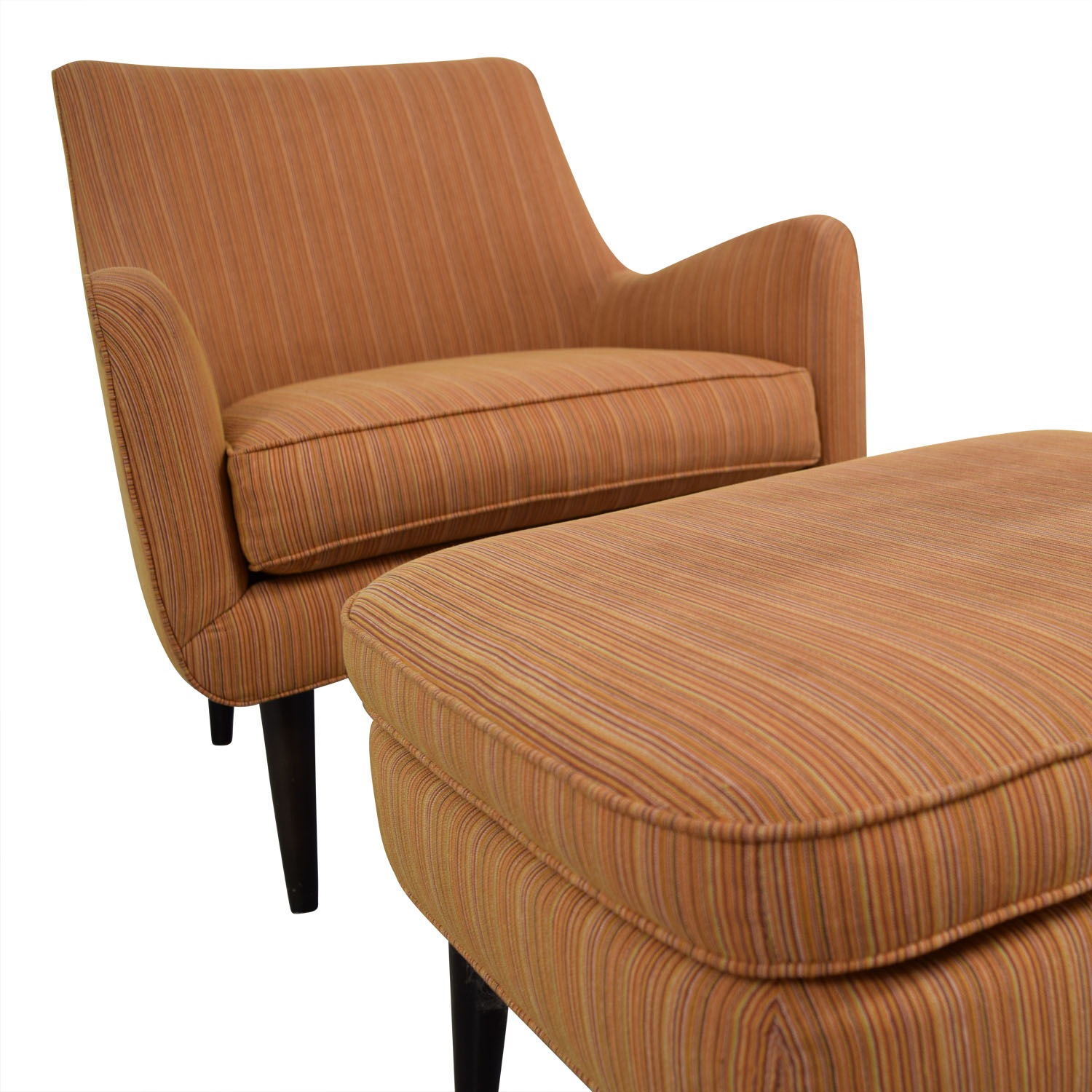 Room & Board Room & Board Orange Striped Lounge Chair & Ottoman Chairs