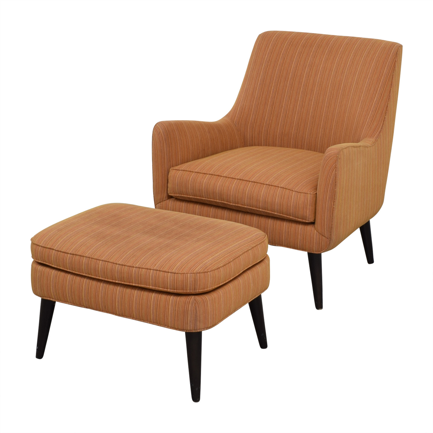 Room & Board Room & Board Orange Striped Lounge Chair & Ottoman coupon