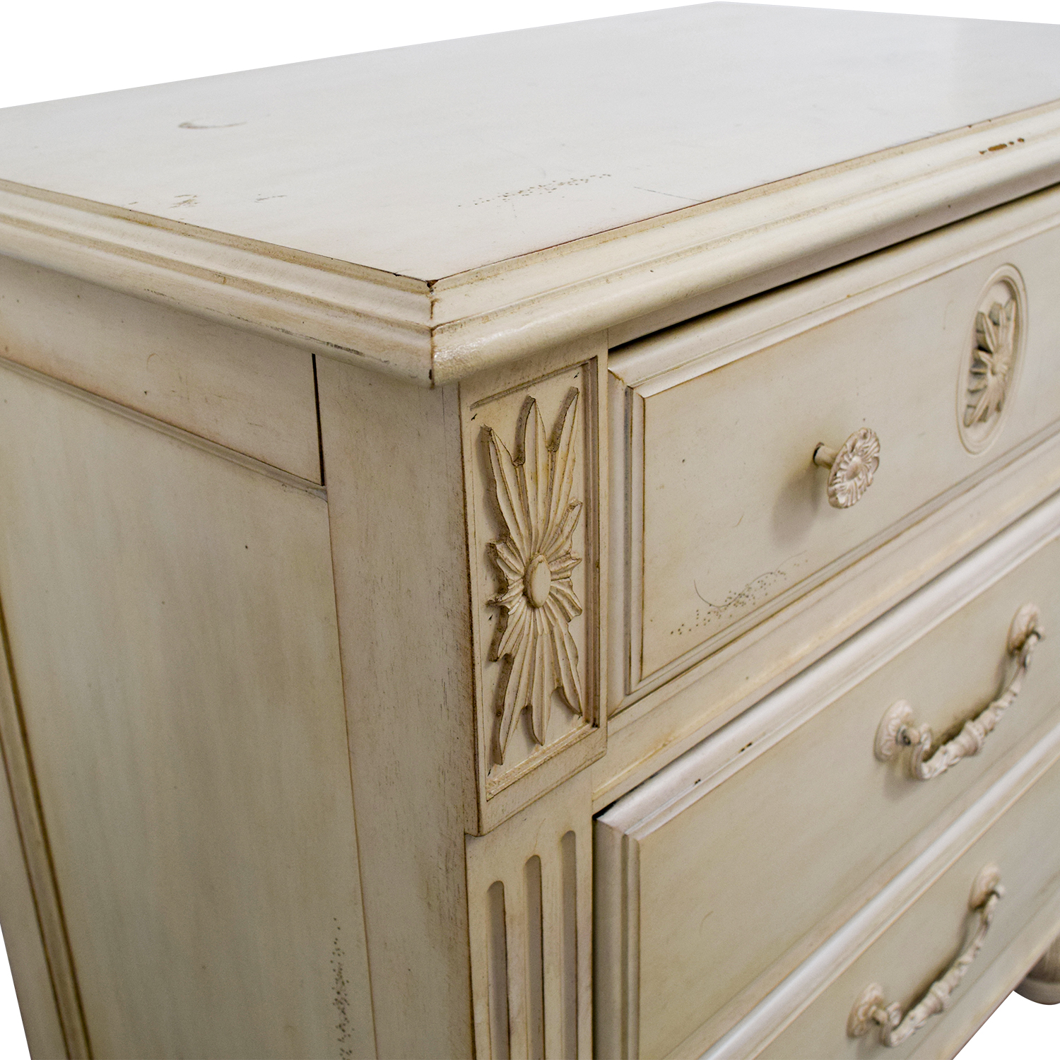 Three-Drawer Butter Wood Night Stand Butter