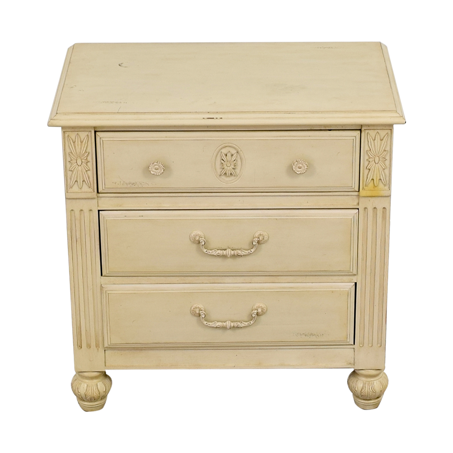 Three-Drawer Butter Wood Night Stand Tables