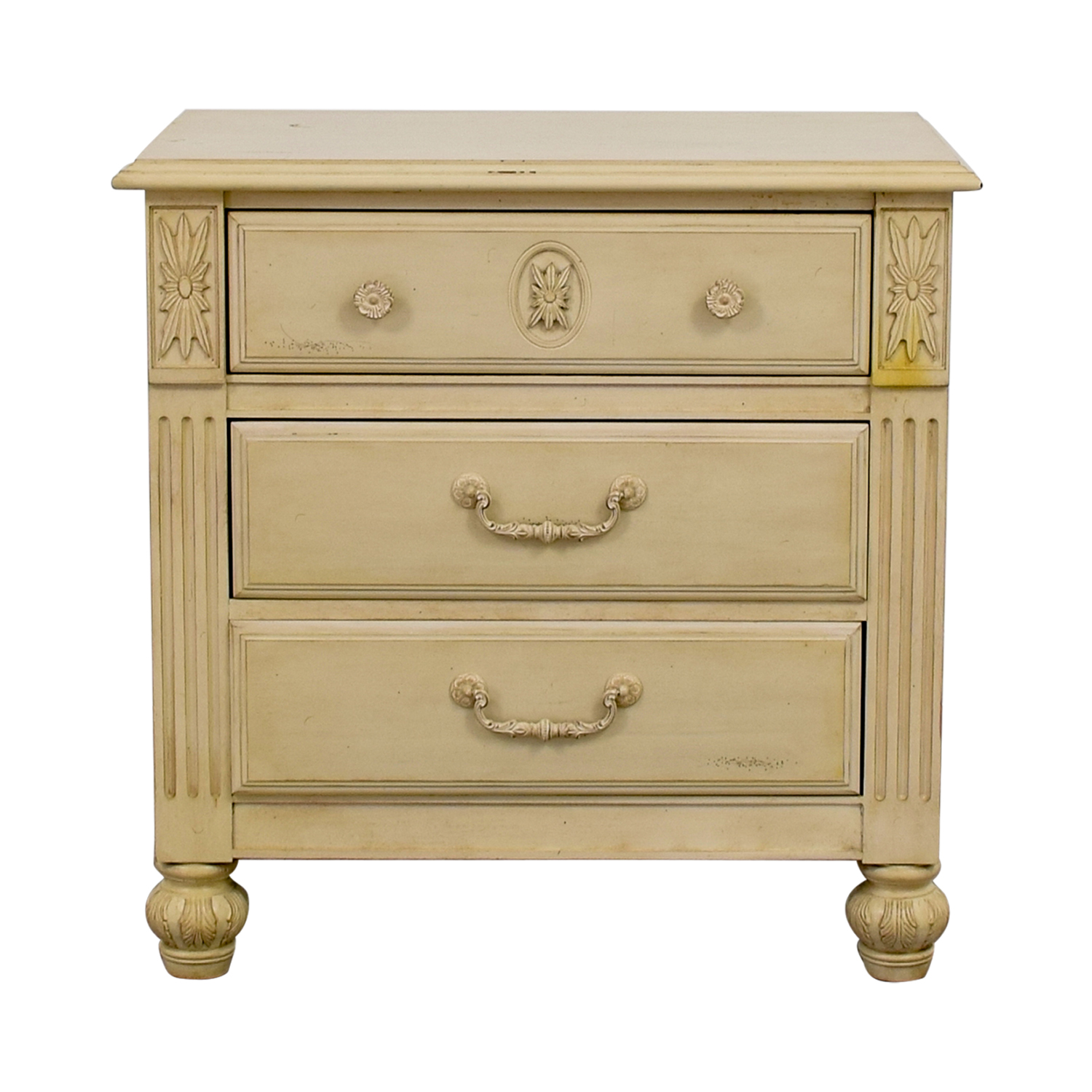 Three-Drawer Butter Wood Night Stand used