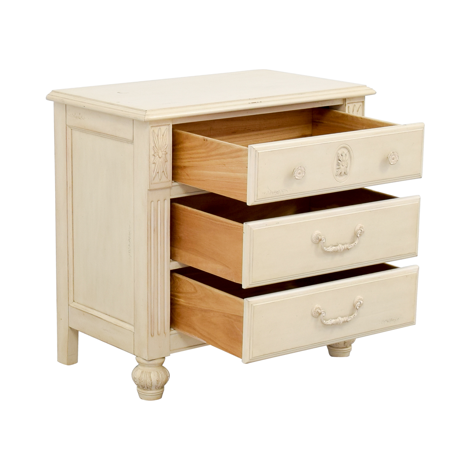 buy Three-Drawer Butter Wood Night Stand Tables