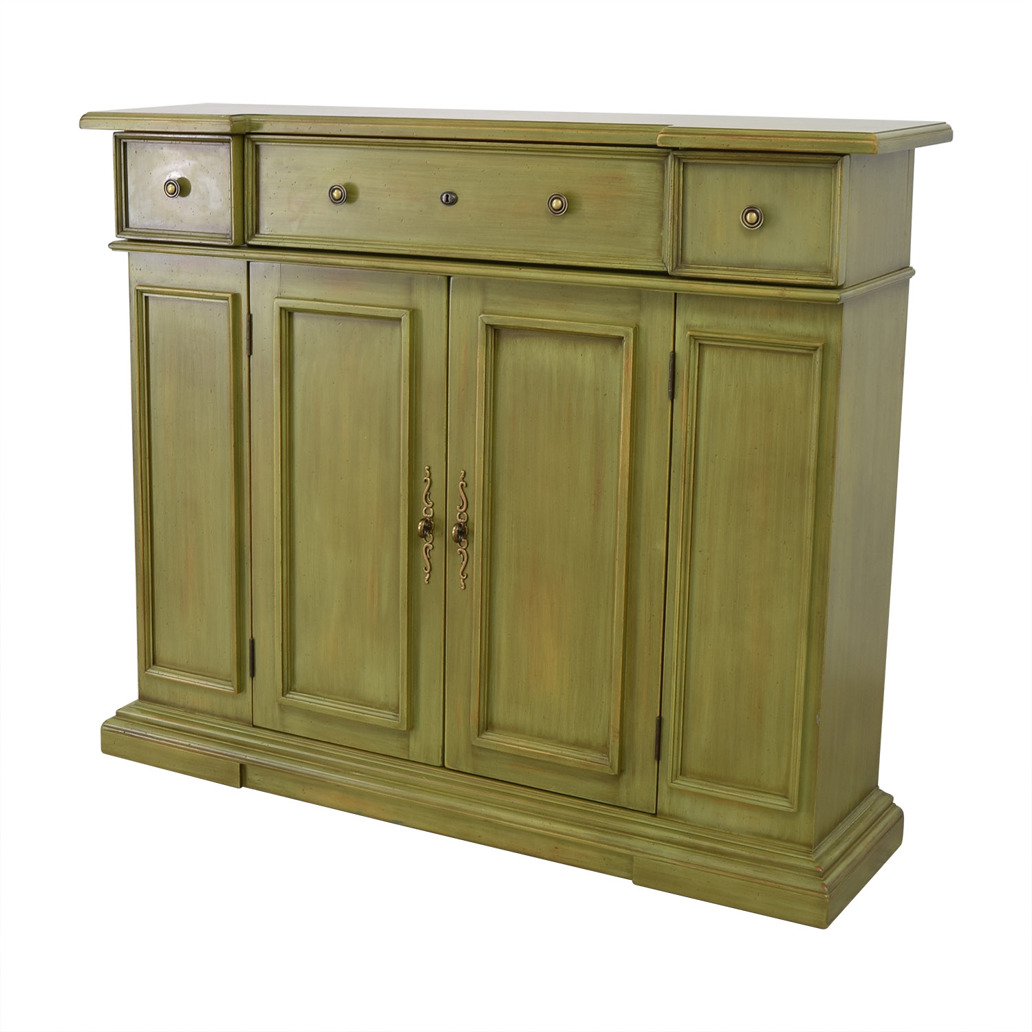 Breakfront Lime Green Cabinet With Storage / Cabinets & Sideboards