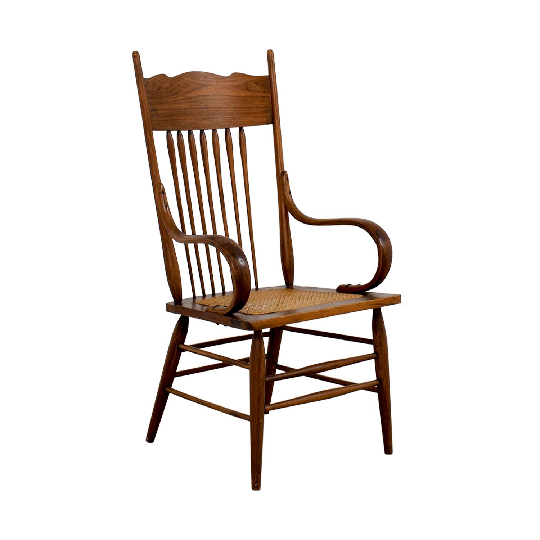 Vintage Wood Cane Armchair