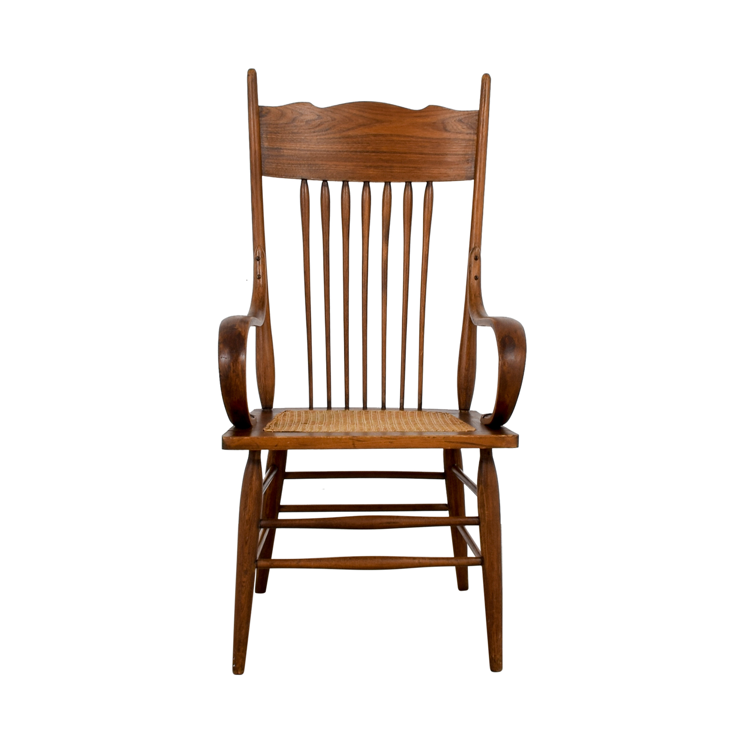 Vintage Wood Cane Armchair / Chairs