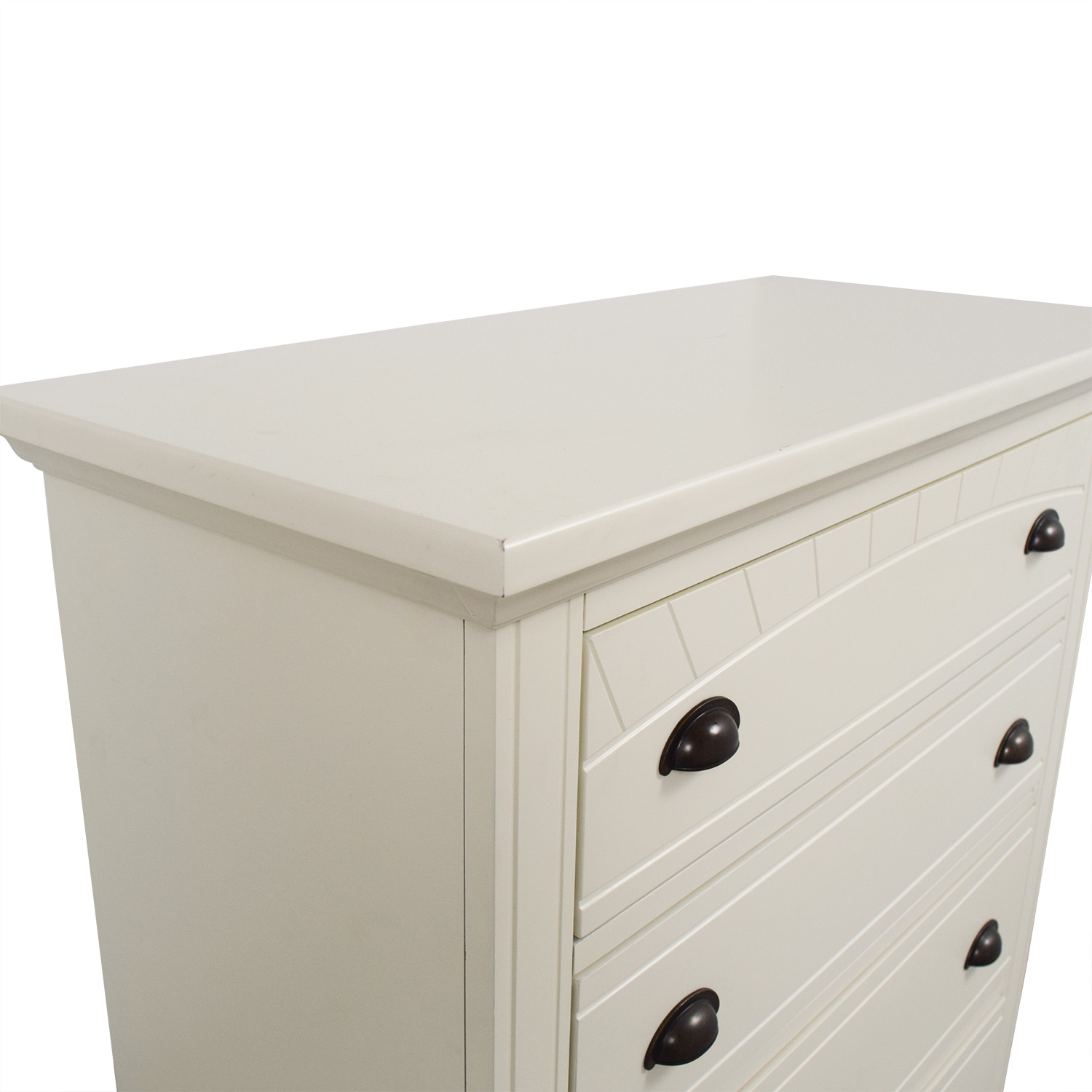 Bobs Furniture White Five-Drawer Chest sale