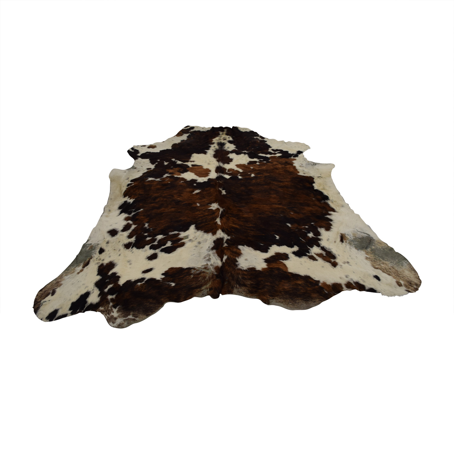 Brown and White Cowhide Rug used