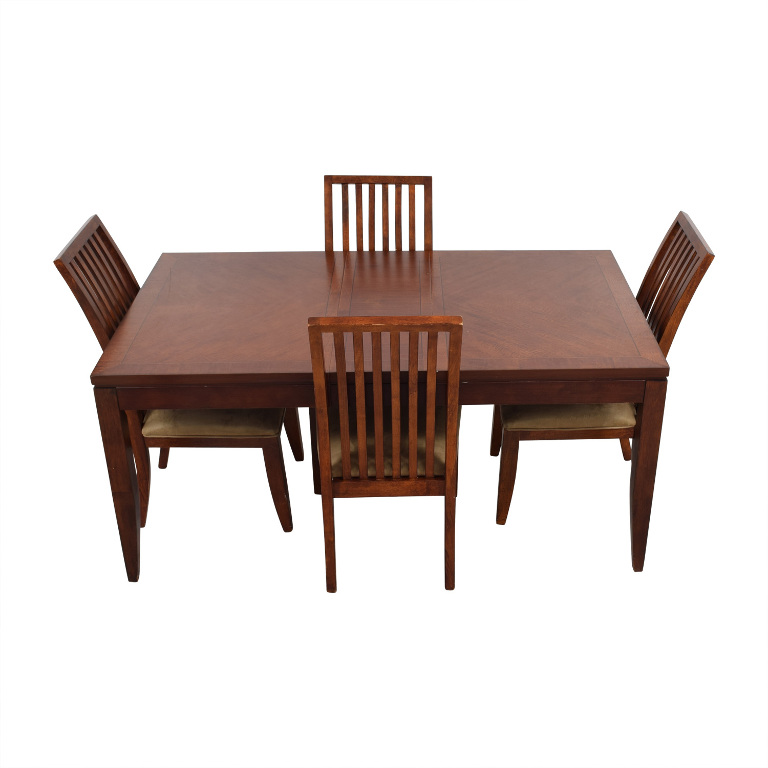 74 off macy39s macy39s wood dining set with extendable for Extendable dining set