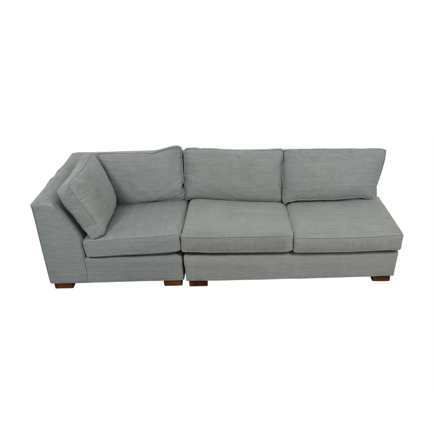 shop Mitchell Gold + Bob Williams Gray Three-Cushion One Armed Sofa Mitchell Gold + Bob Williams