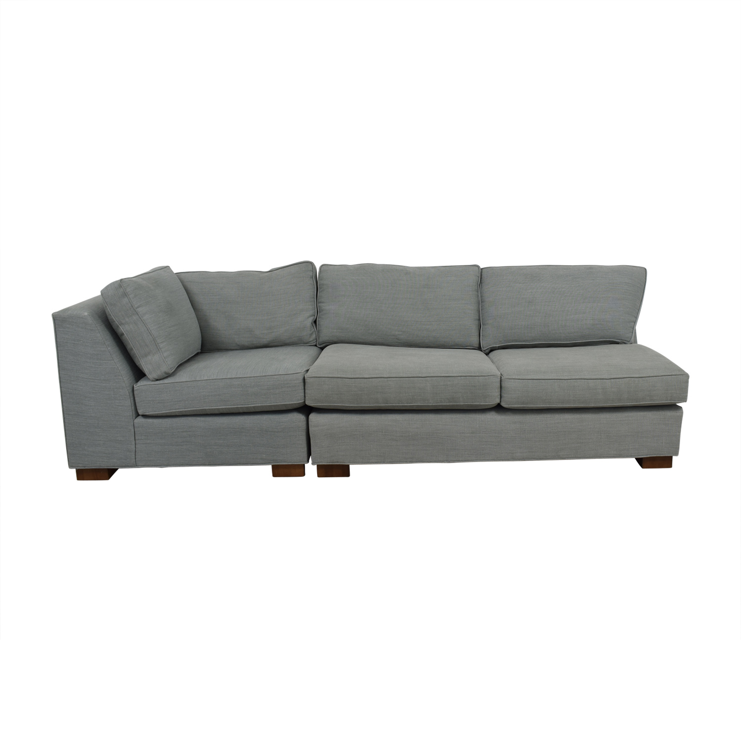 buy Mitchell Gold + Bob Williams Gray Three-Cushion One Armed Sofa Mitchell Gold + Bob Williams Sectionals