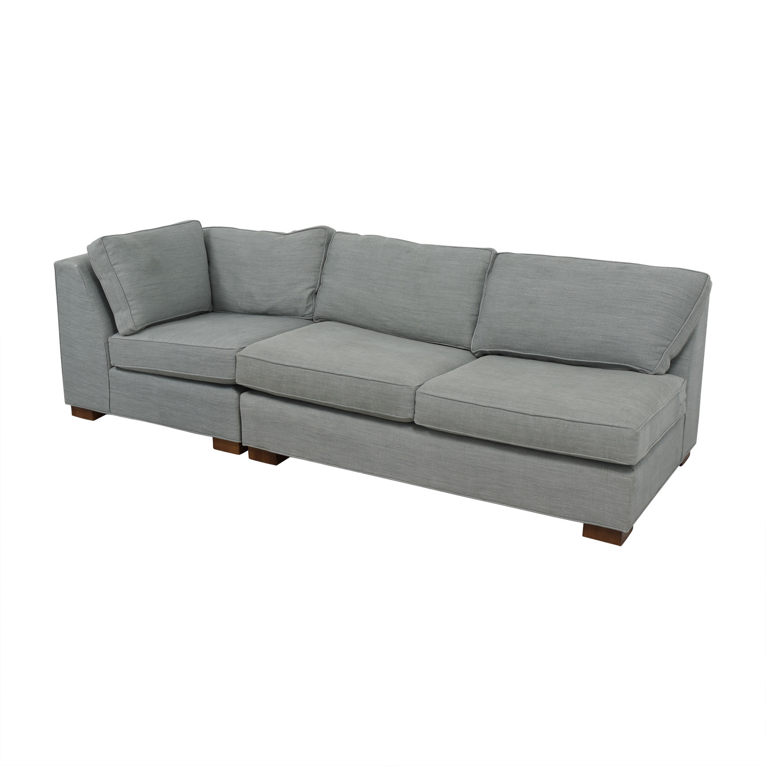 buy Mitchell Gold + Bob Williams Gray Three-Cushion One Armed Sofa Mitchell Gold + Bob Williams Sofas