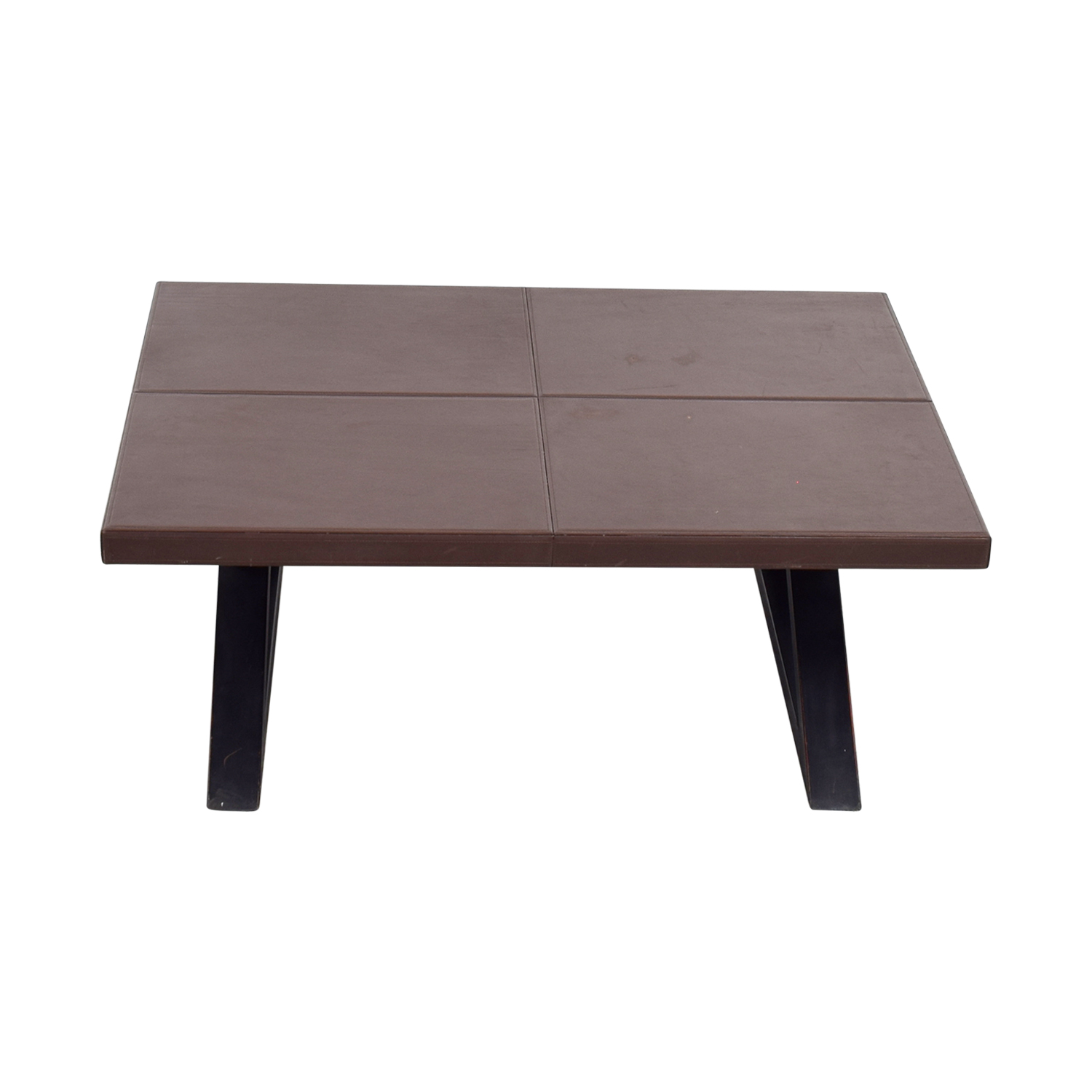 Brown Leather Top Coffee Table discount