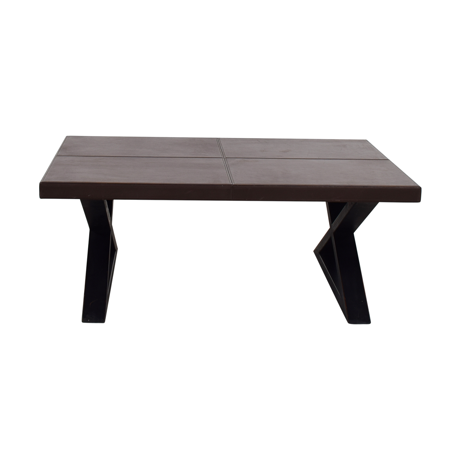 shop Brown Leather Top Coffee Table