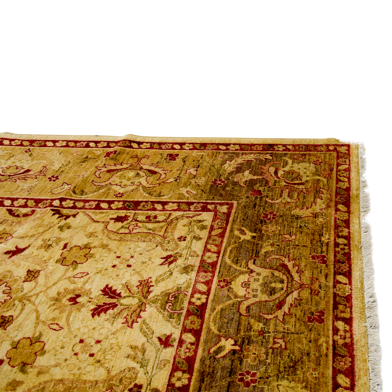 Pakistani Red and Beige Wool Rug MULTI-COLORED