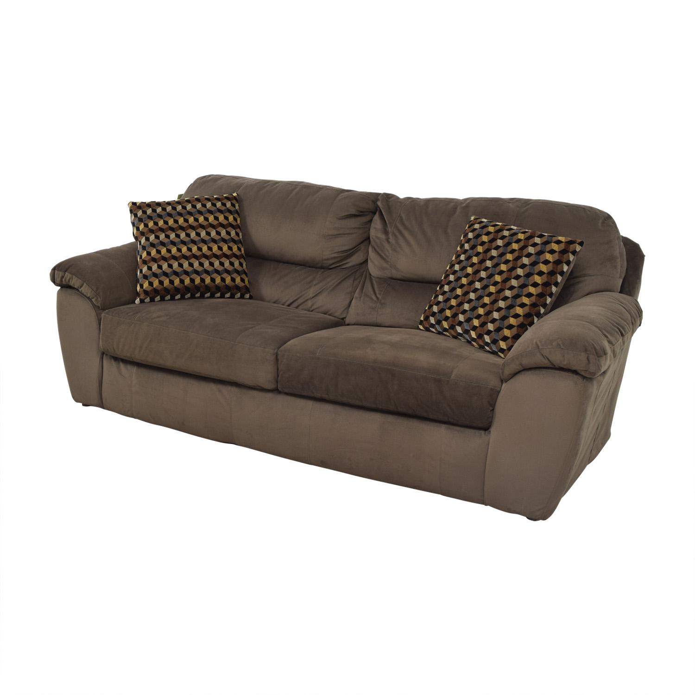 65 Off Bob S Furniture Brown Bailey Two Cushion Sofa Sofas
