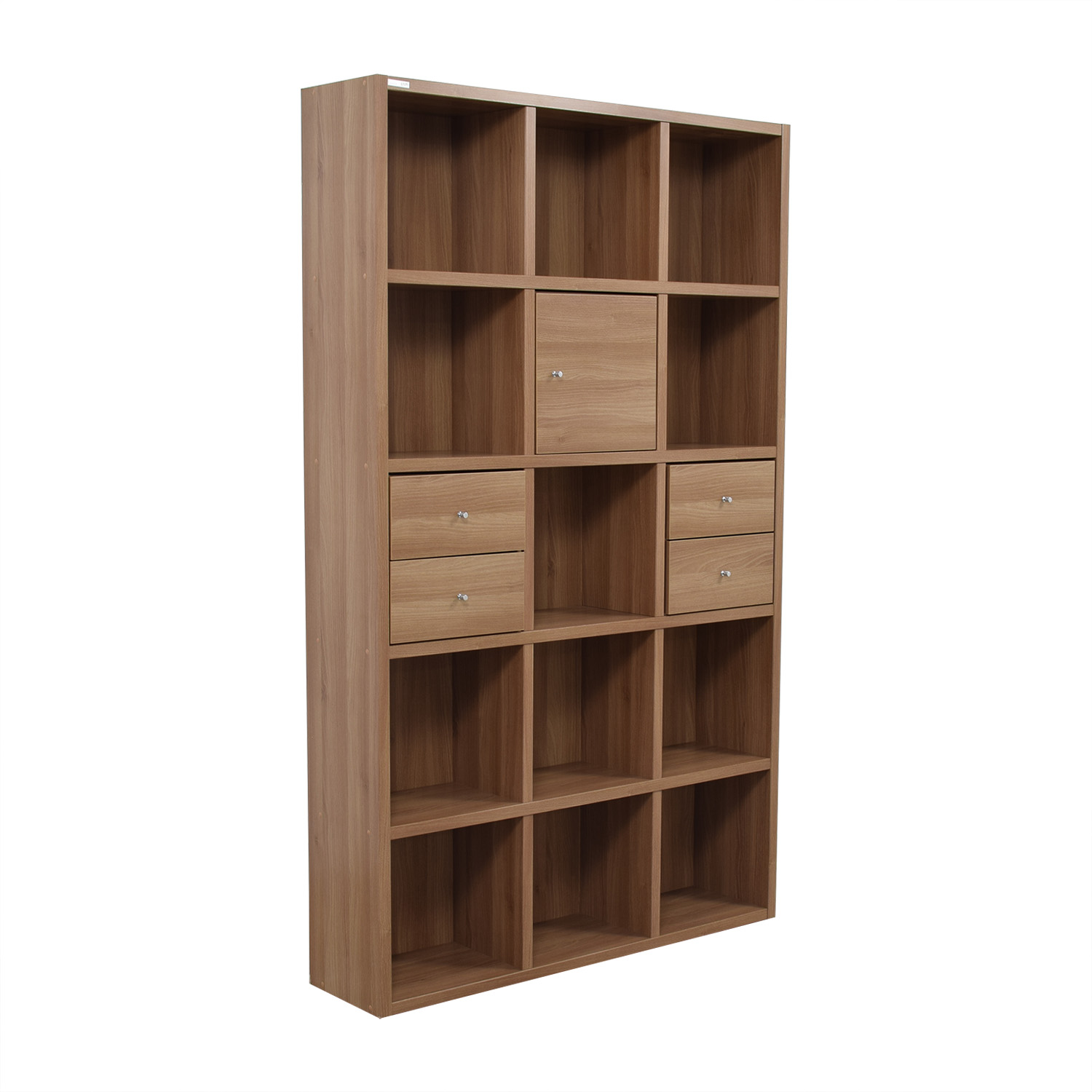 buy Hansaem Natural Wood Bookshelf with Drawers and Storage Hansaem