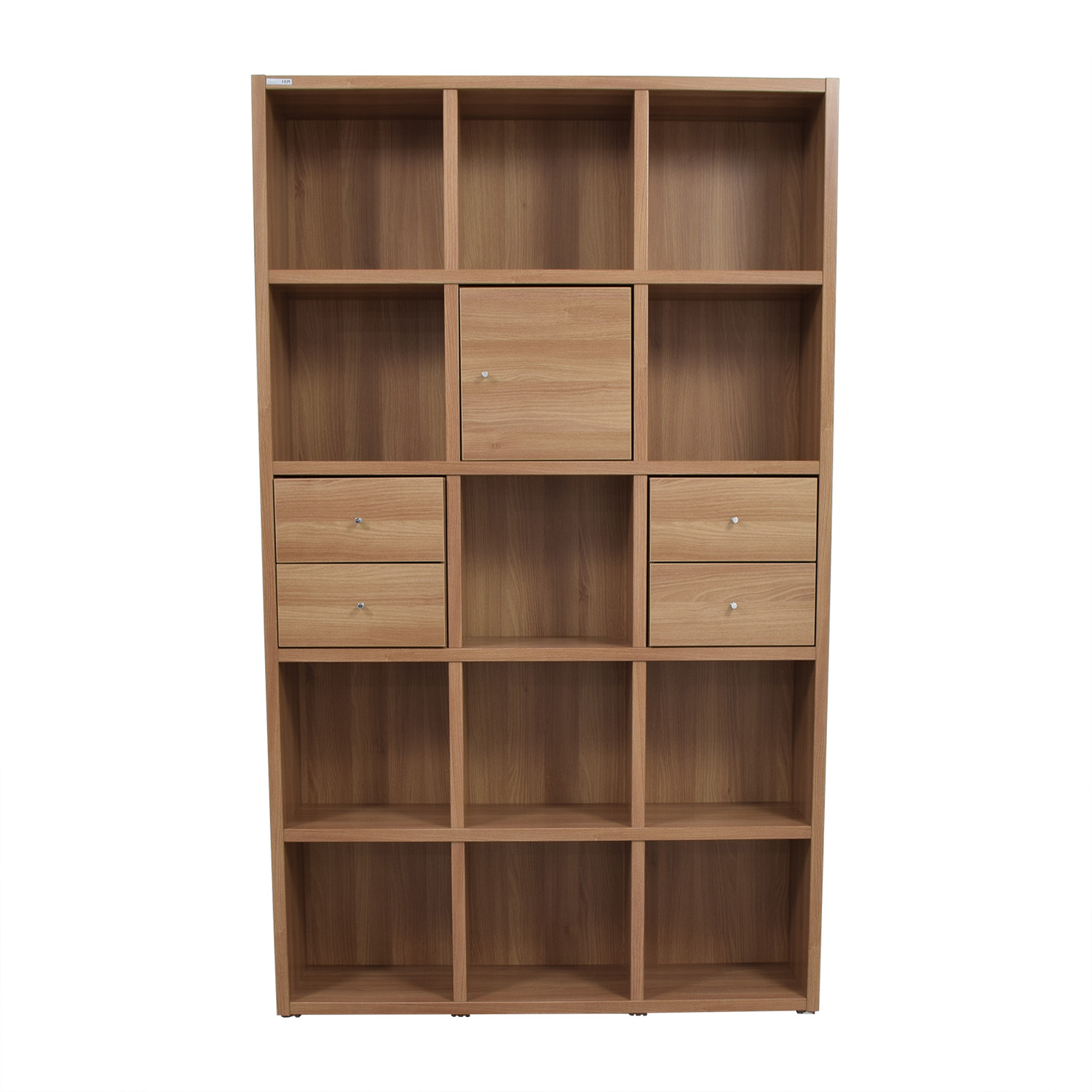 Hansaem Hansaem Natural Wood Bookshelf with Drawers and Storage on sale