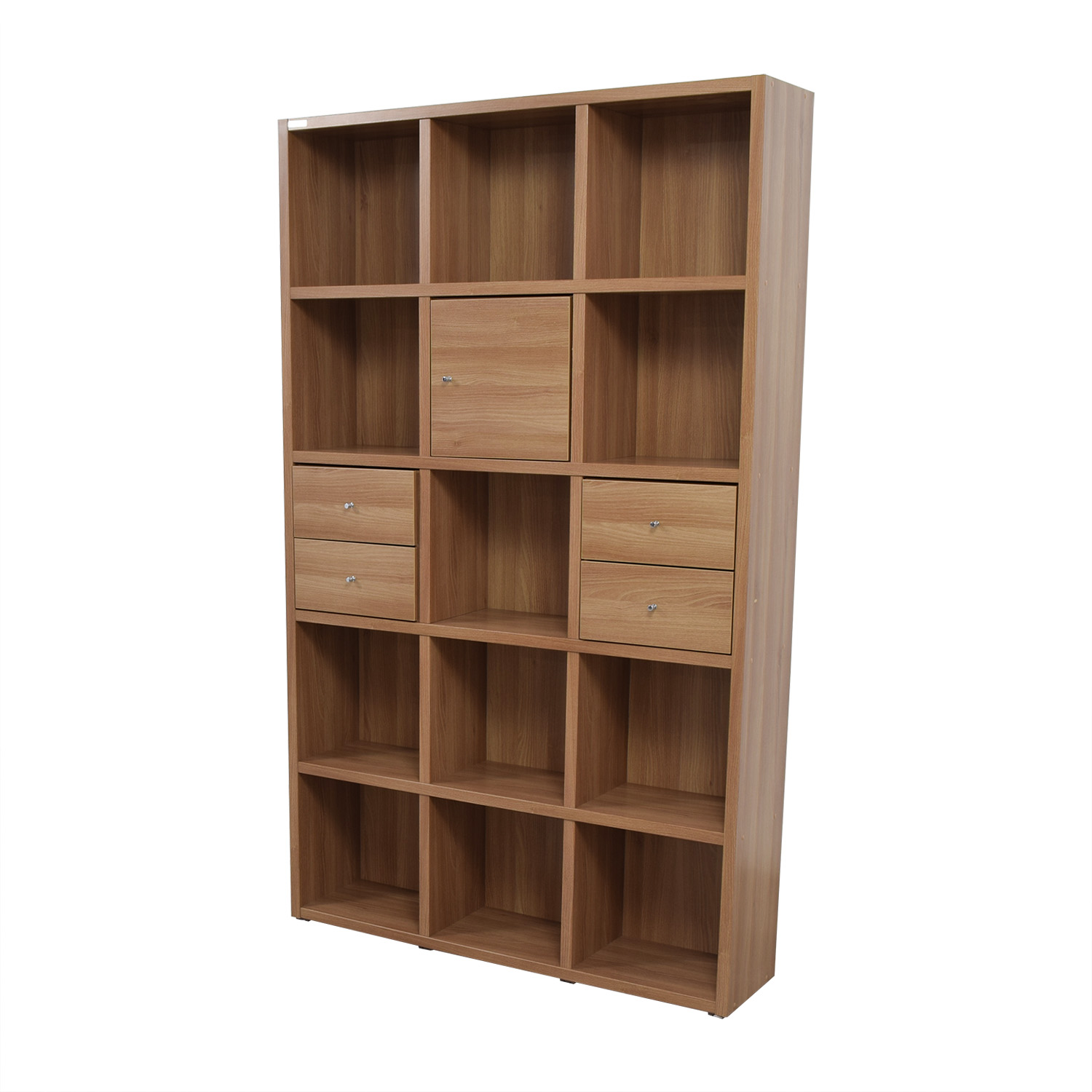 Hansaem Hansaem Natural Wood Bookshelf with Drawers and Storage price