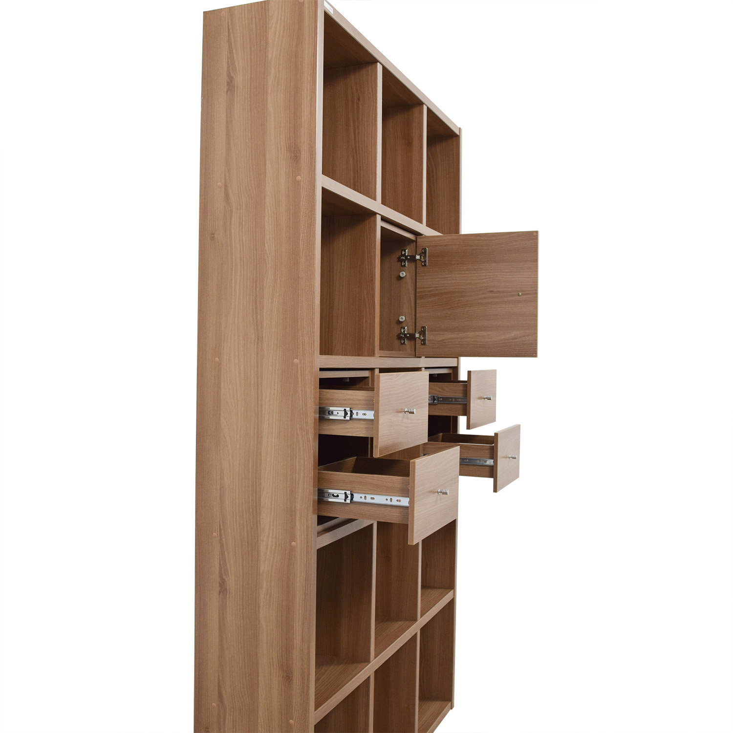 Hansaem Hansaem Natural Wood Bookshelf with Drawers and Storage coupon