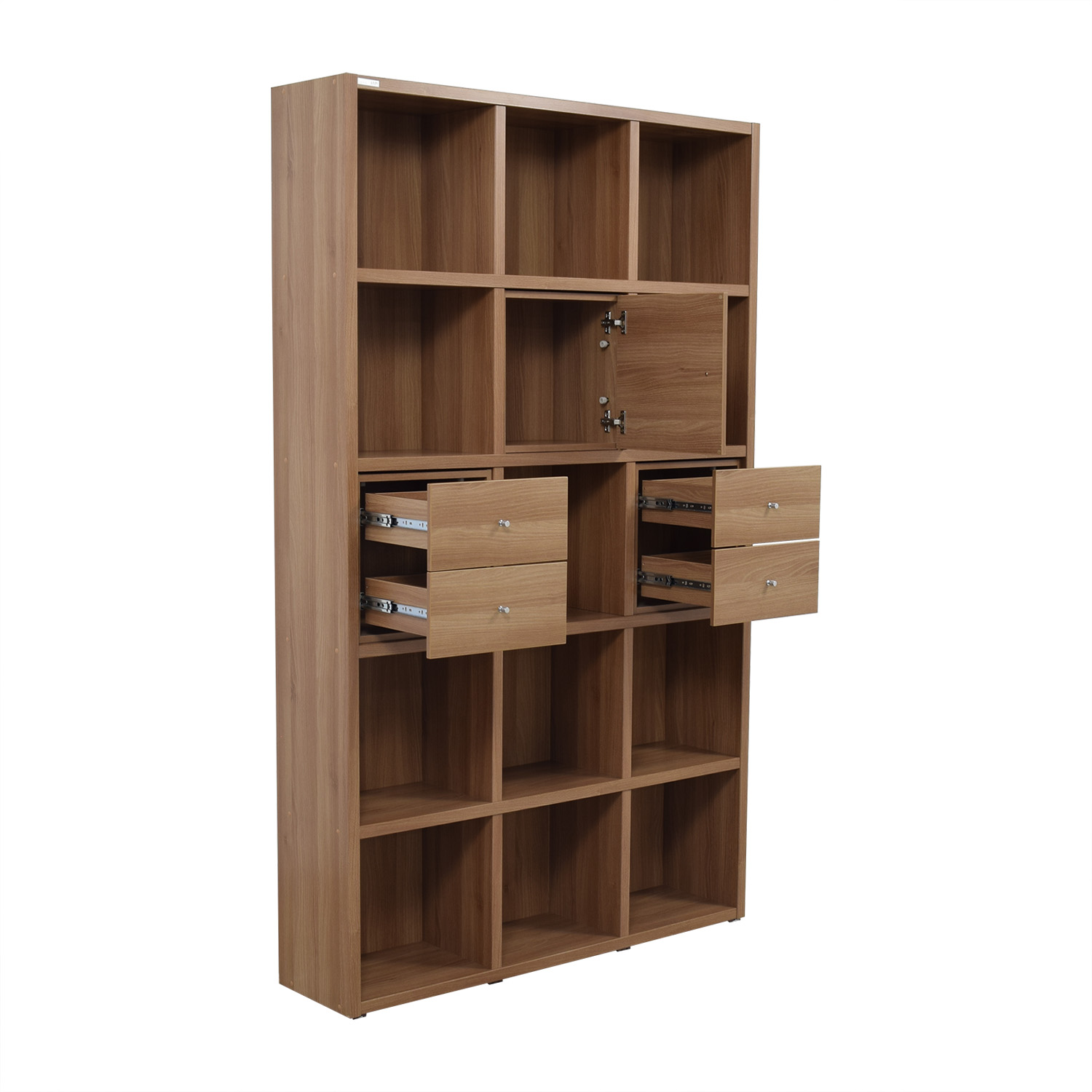 ... Hansaem Hansaem Natural Wood Bookshelf with Drawers and Storage used ...