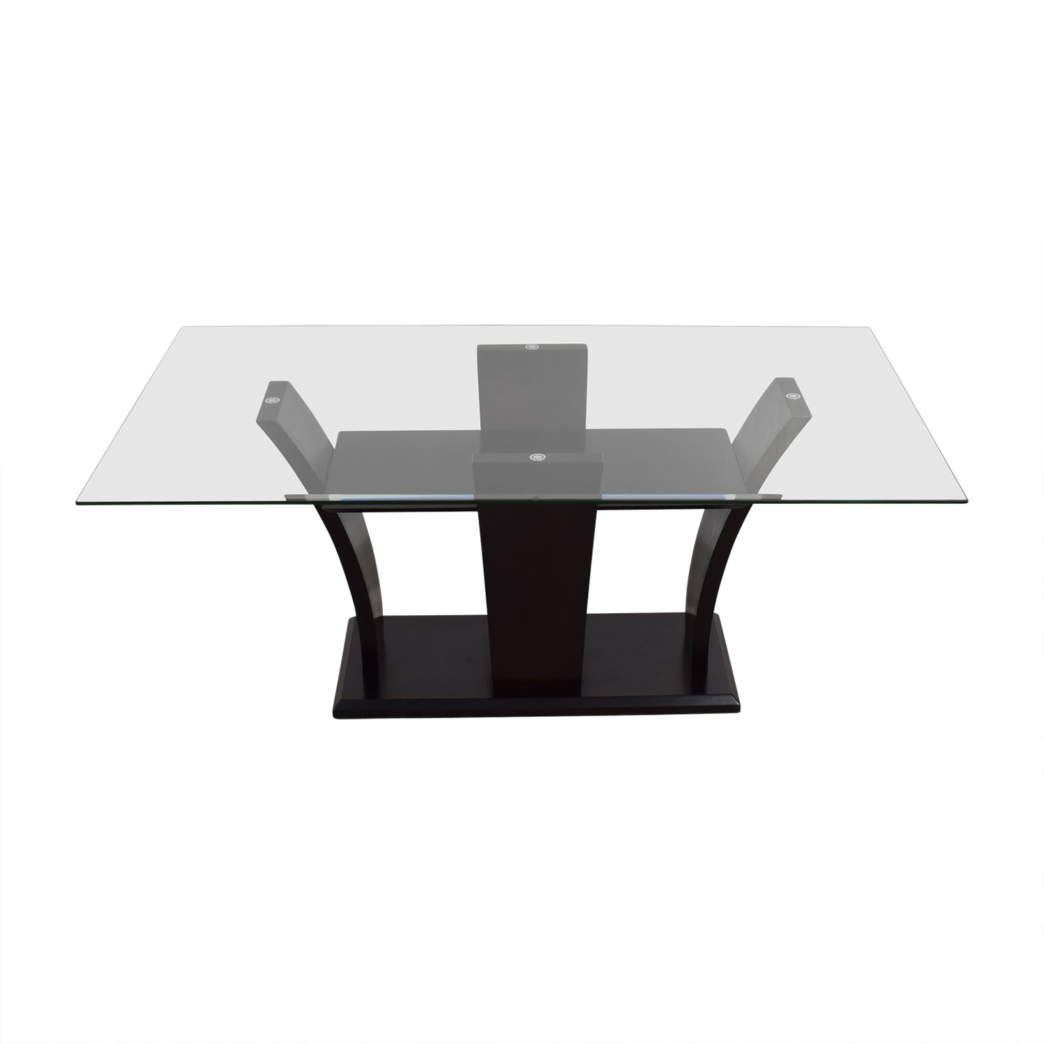 Mahogany Base Glass Top Dining Table Dinner Tables