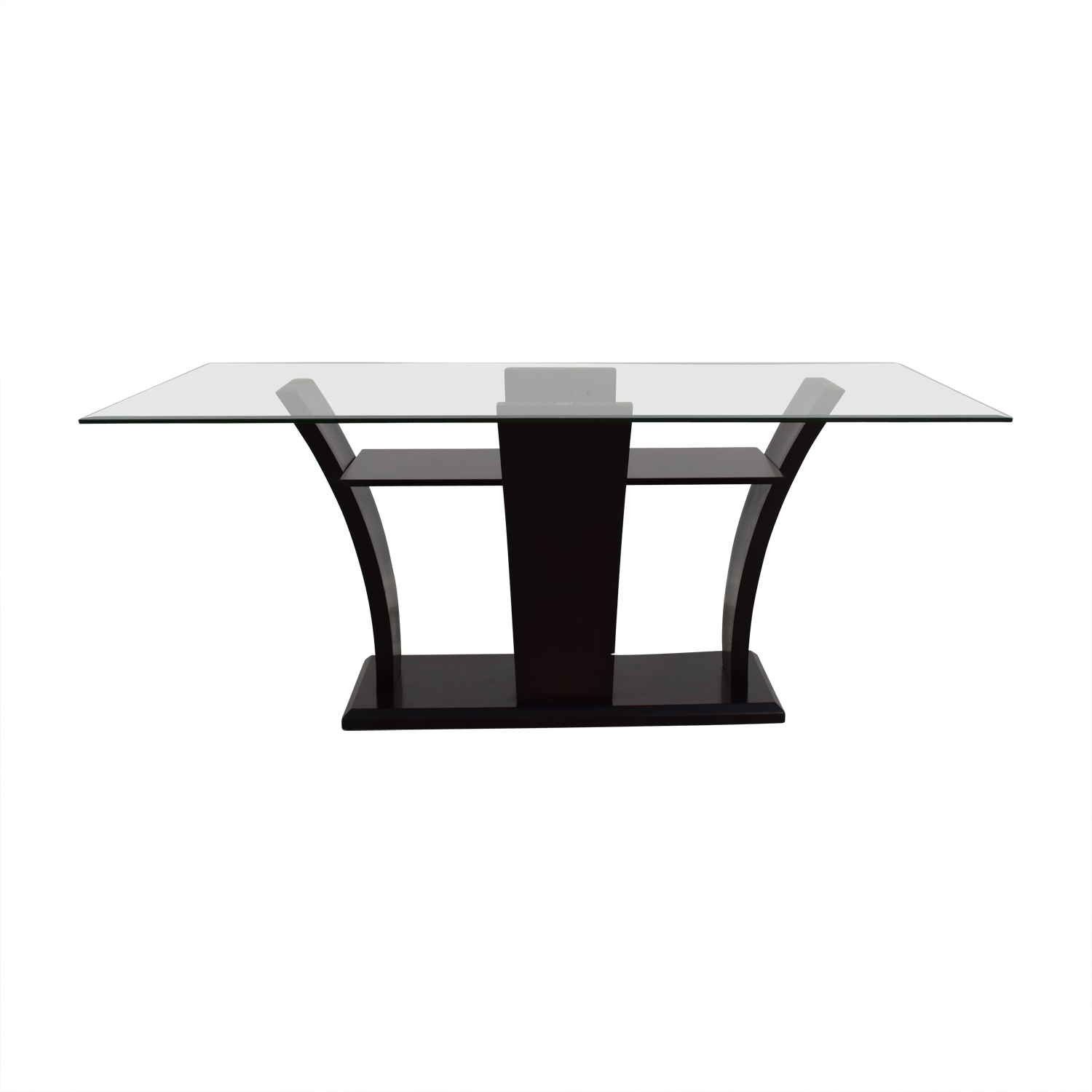 Mahogany Base Glass Top Dining Table Tables