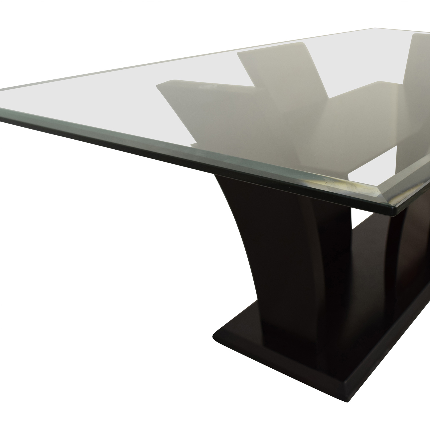 Mahogany Base Glass Top Dining Table sale
