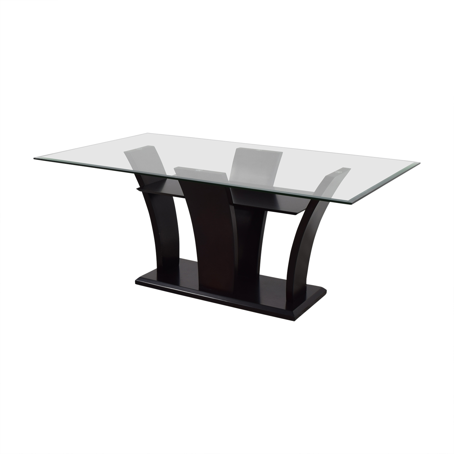 Mahogany Base Glass Top Dining Table / Dinner Tables