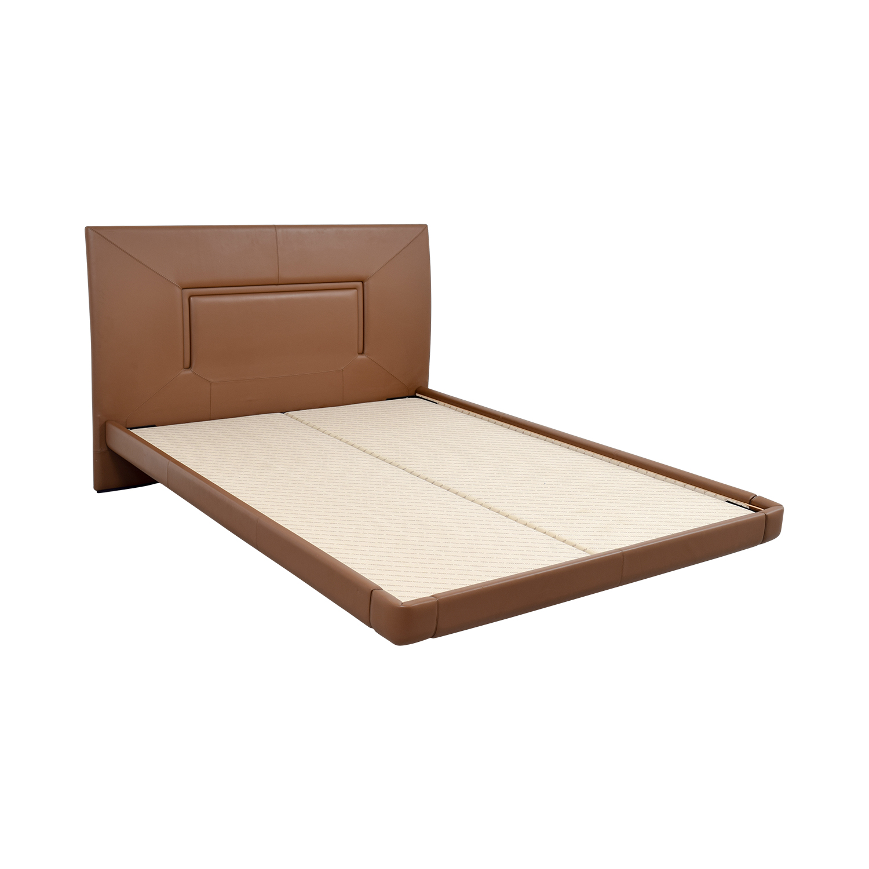 Aurora Uno Aurora Uno Brown Leather Queen Bed Frame