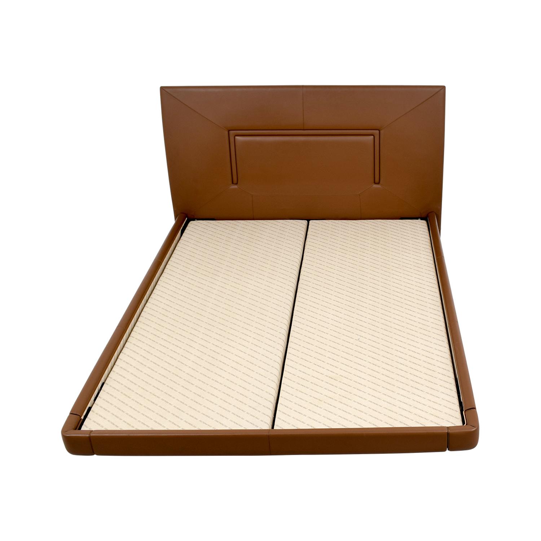 Aurora Uno Aurora Uno Brown Leather Queen Bed Frame Beds