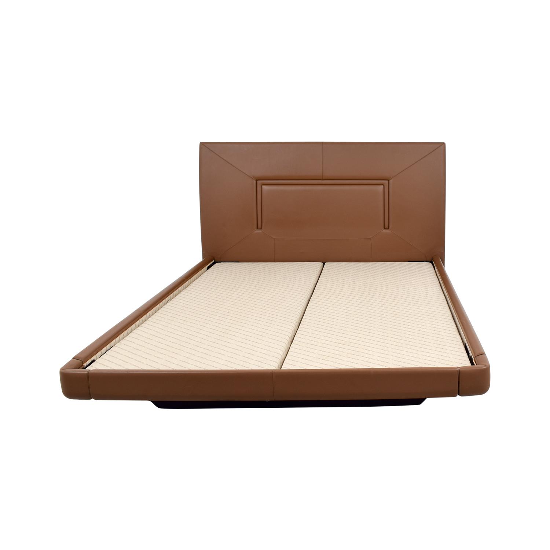 Aurora Uno Aurora Uno Brown Leather Queen Bed Frame nyc