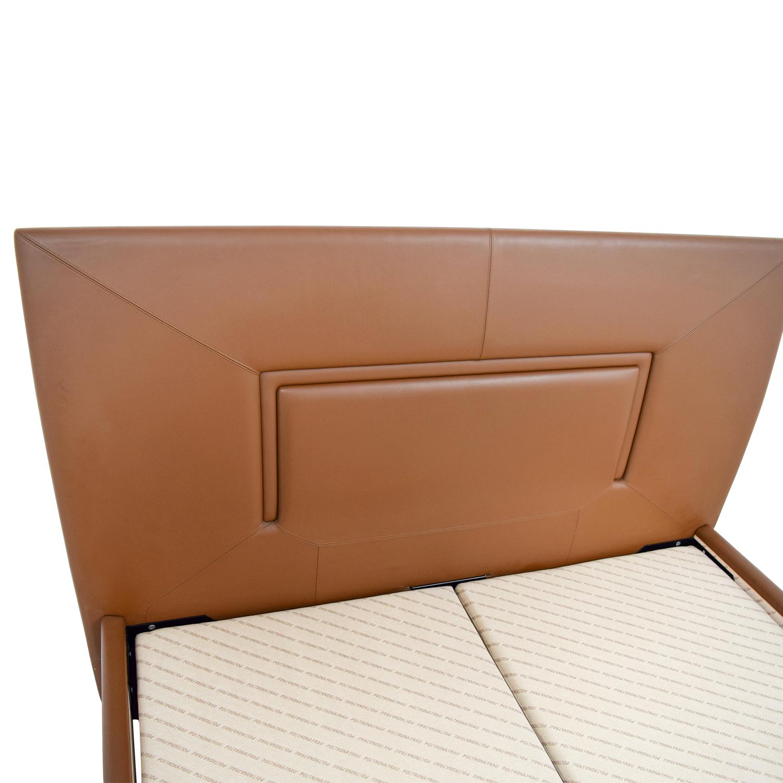 Aurora Uno Aurora Uno Brown Leather Queen Bed Frame on sale