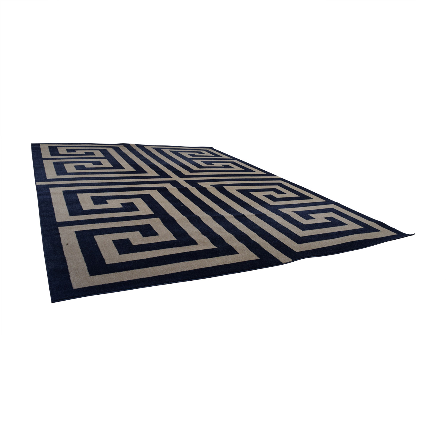 Navy and White Greek Keys Rug used