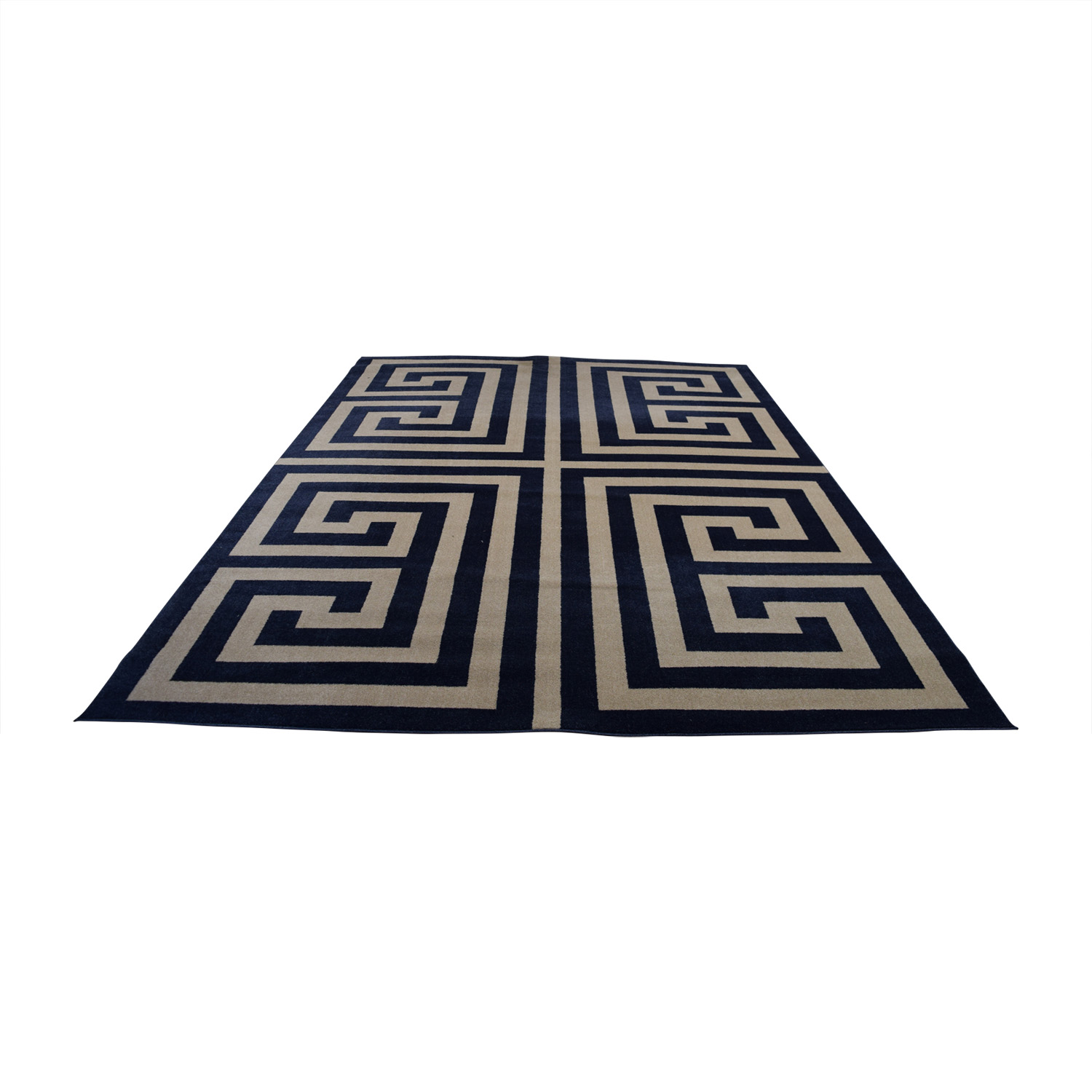 shop Navy and White Greek Keys Rug Decor
