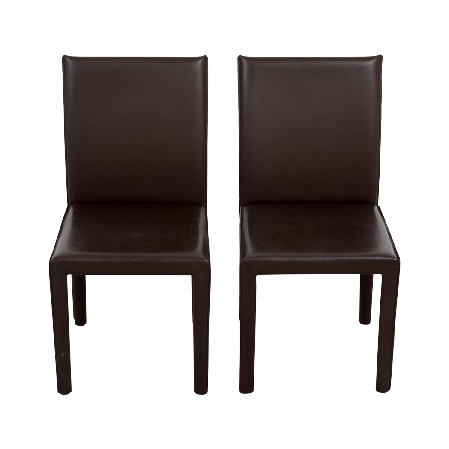 Maria Yee Maria Yee Mondo Brown Leather Dining Chairs dimensions