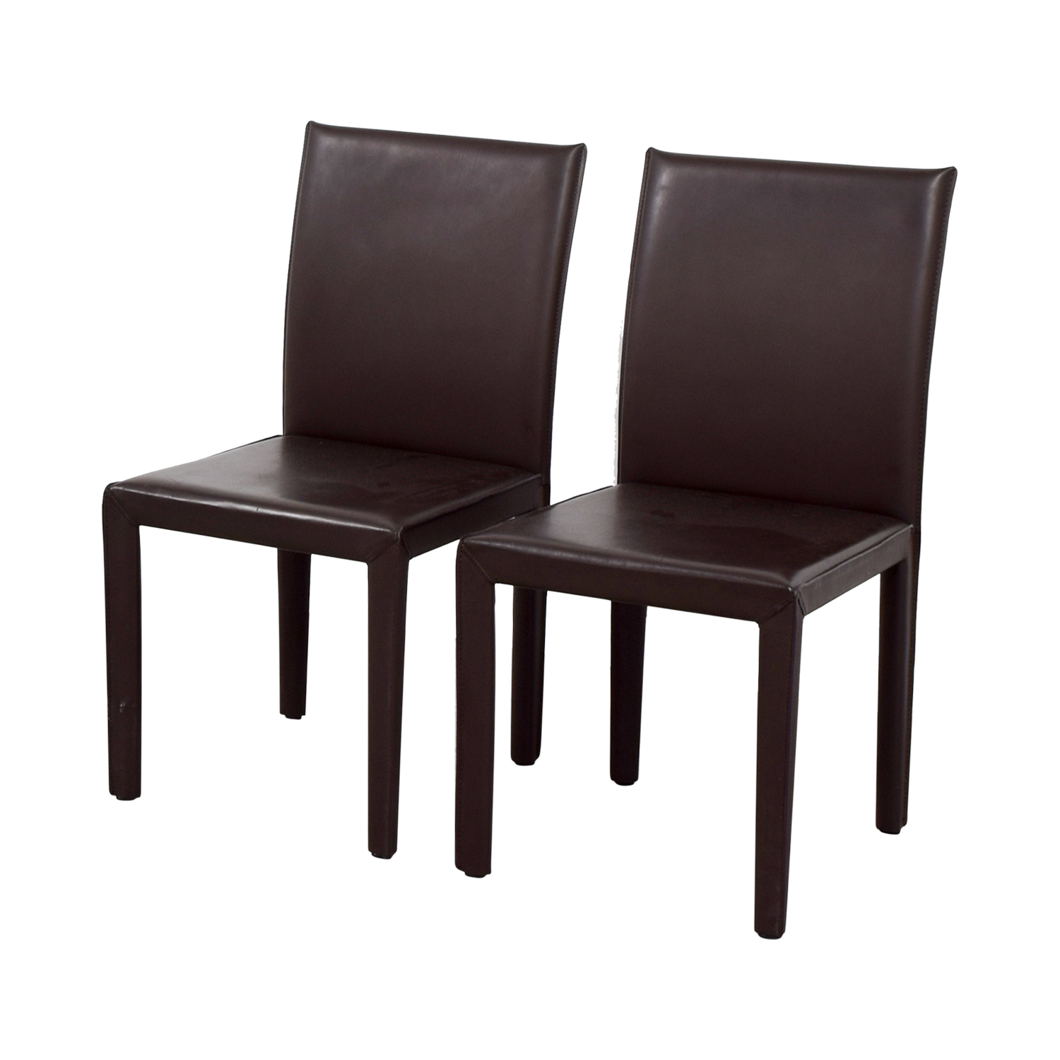Maria Yee Maria Yee Mondo Brown Leather Dining Chairs on sale