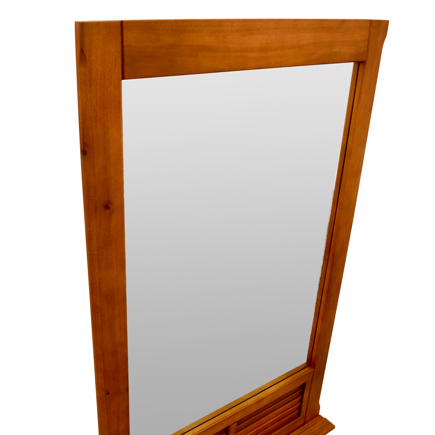 Natural Wood Window Pane Mirror discount
