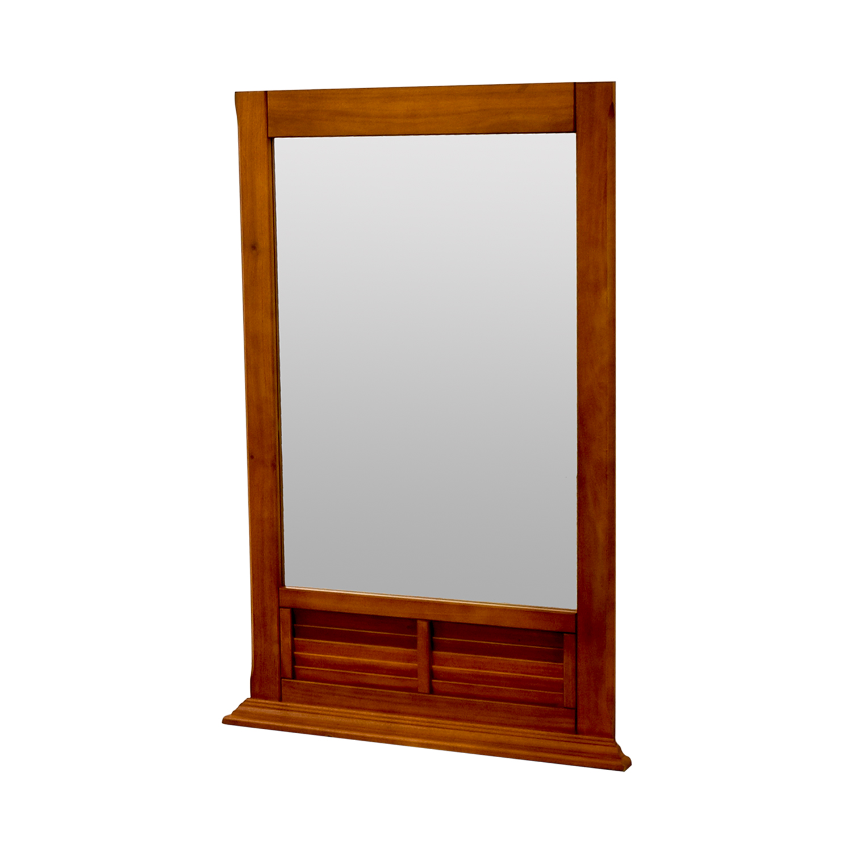 Natural Wood Window Pane Mirror nj