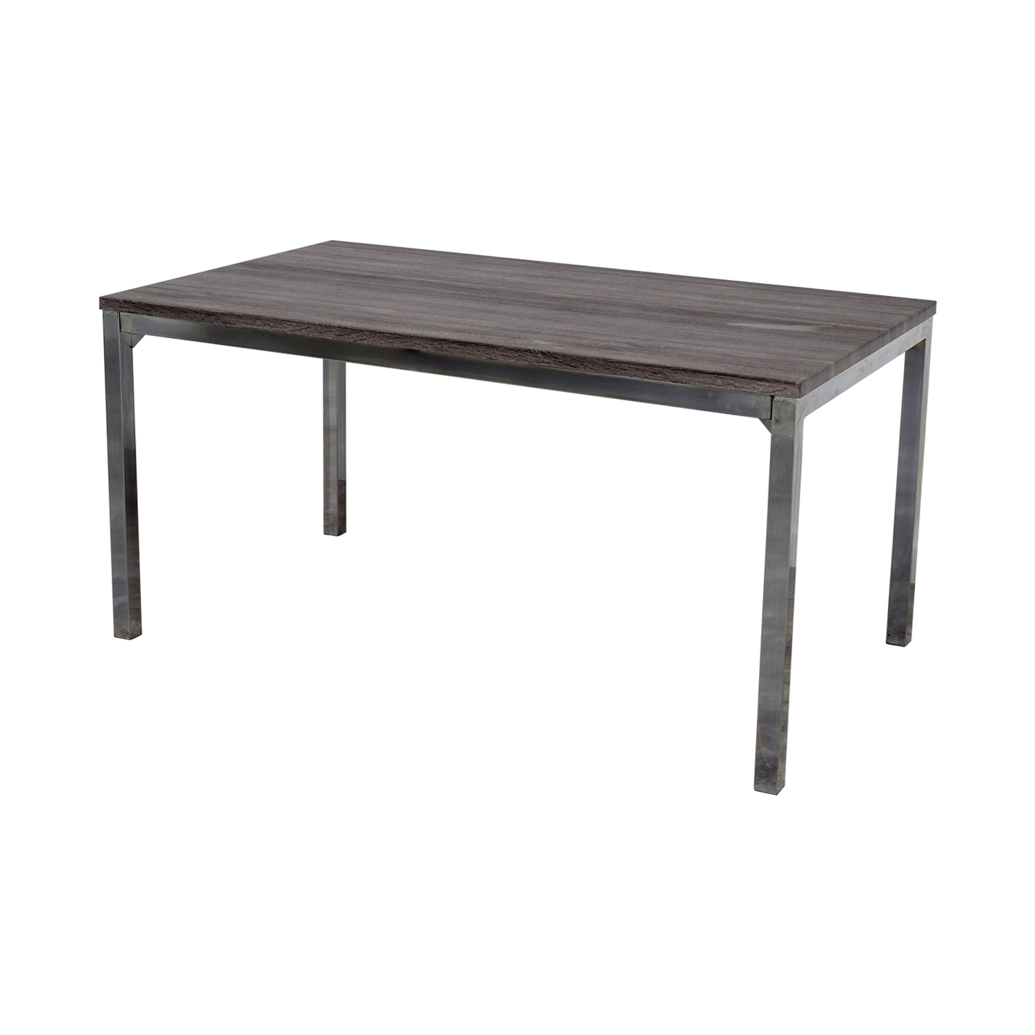 Wildon Home Wildon Home Rustic Wood Top and Chrome Dining Table nj