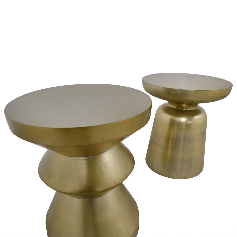 West Elm West Elm Gold Brushed Side Tables discount