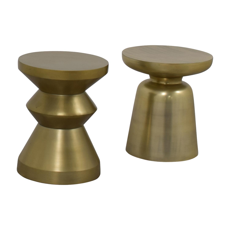 West Elm Gold Brushed Side Tables sale