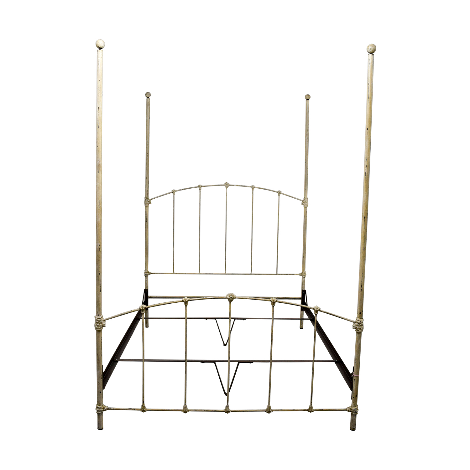 Wrought Iron Distressed White Four Poster Queen Bed / Beds